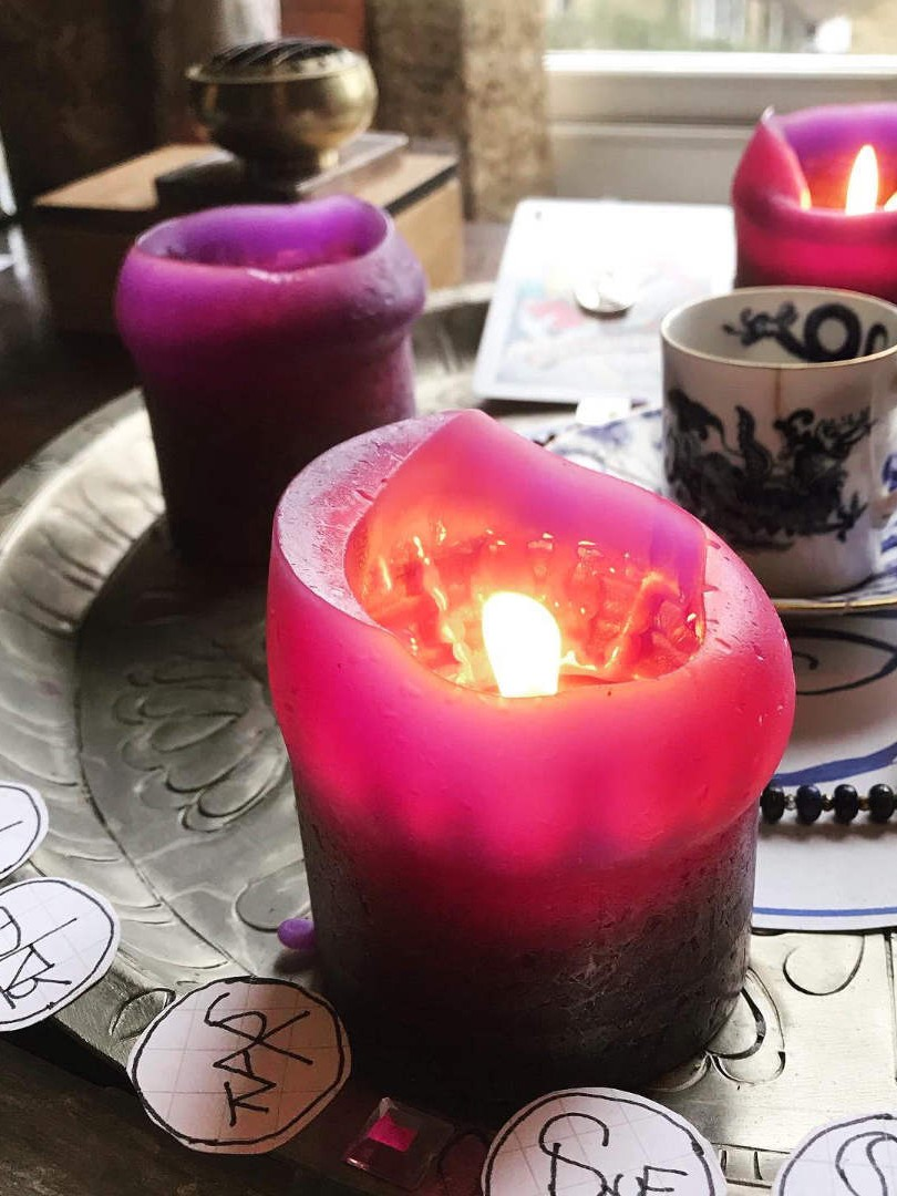Be the Witch altar to Jupiter with purple candles, magic sigils, crystal offerings on a metal try