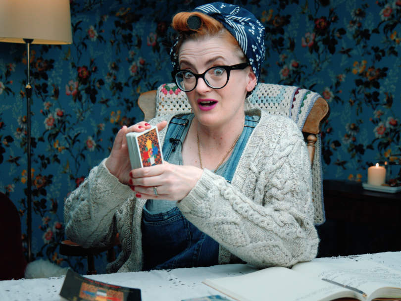 Anna with kerchief and tarot cards