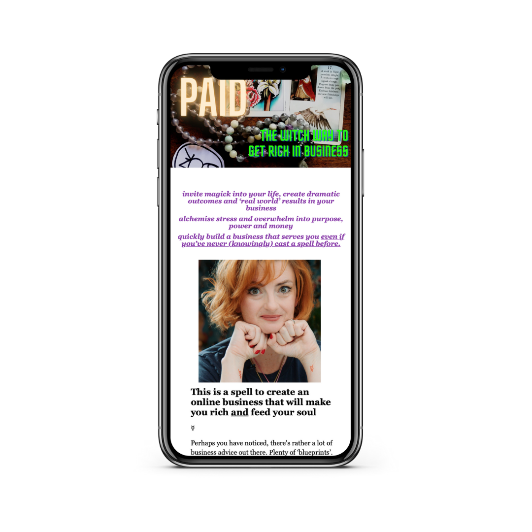 smart phone showing the web page for PAID